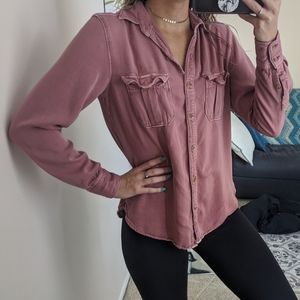 American eagle rose pink button down shirt